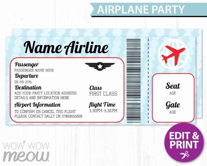 Free Printable Airline Ticket Template Luxury Airplane Ticket Invite Aeroplane Passport Invitation Pilot Fun