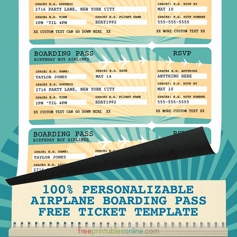 Free Printable Airline Ticket Template Luxury Printable Airline Boarding Pass Template Free Printables