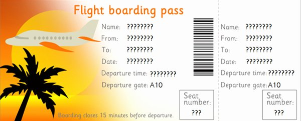 Free Printable Airline Ticket Template Unique Editable Airline Tickets Eyfs Ks1 Role Play