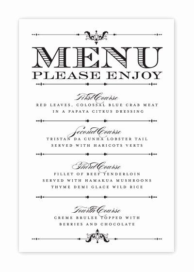 Free Printable Menu Card Template Awesome Free Printable Wedding Menu Templates