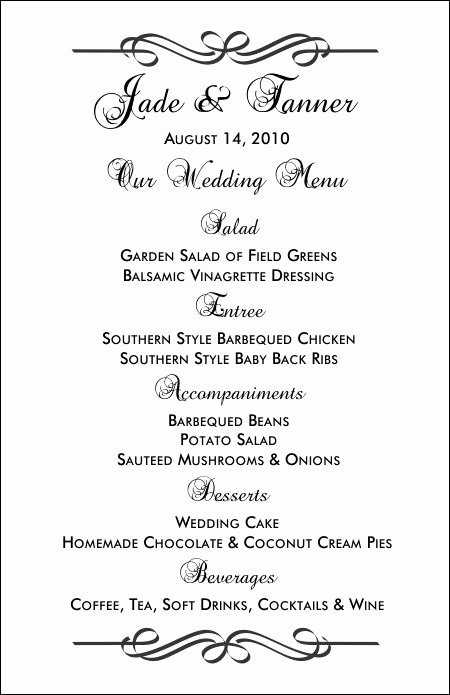 Free Printable Menu Card Template Awesome Wedding Menu Templates