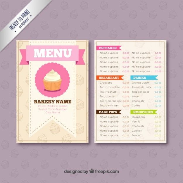 Free Printable Menu Card Template Beautiful Bakery Menu Template Free Downloads