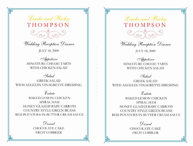 Free Printable Menu Card Template Best Of Wedding Menu Template 5 Free Printable Menu Cards Sample
