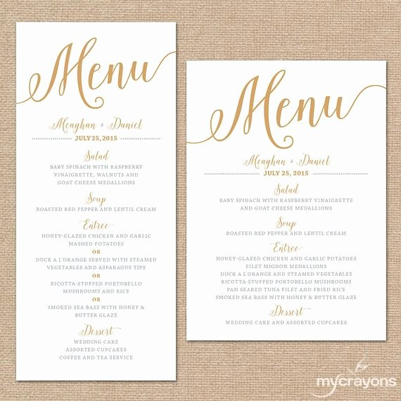 Free Printable Menu Card Template Fresh Gold Wedding Menu Cards Wedding Menu Template Gold