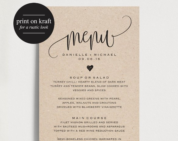 Free Printable Menu Card Template Inspirational 37 Wedding Menu Template – Free Sample Example format