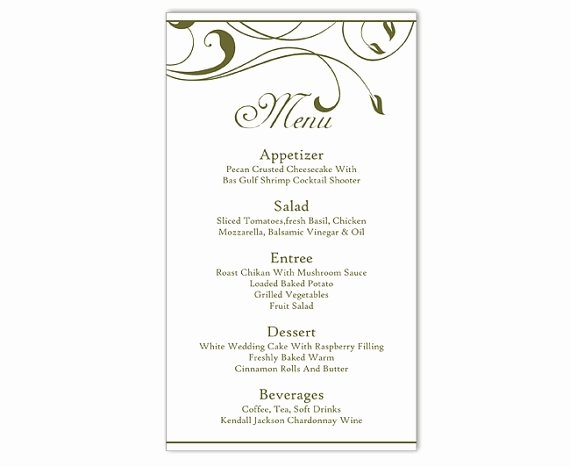Free Printable Menu Card Template Inspirational Wedding Menu Template Diy Menu Card Template Editable Text