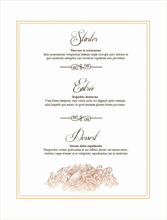 Free Printable Menu Card Template Lovely 36 Wedding Menu Templates Ai Psd Google Docs Apple