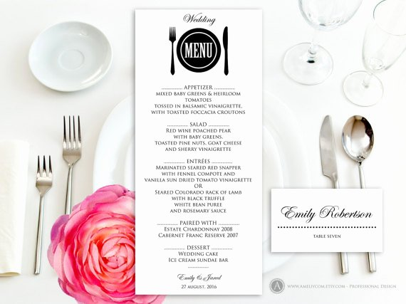 Free Printable Menu Card Template Lovely Printable Wedding Menu Free Place Card Template Instant