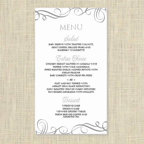 Free Printable Menu Card Template Lovely Wedding Menu Card Template Download Instantly Edit