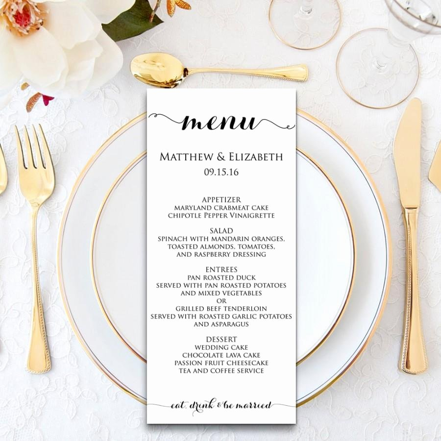 Free Printable Menu Card Template Lovely Wedding Menu Wedding Menu Template Menu Cards Menu