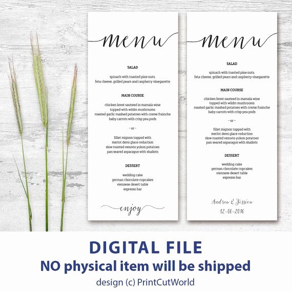 Free Printable Menu Card Template Luxury 46 Best Wedding Menu Templates Images On Pinterest
