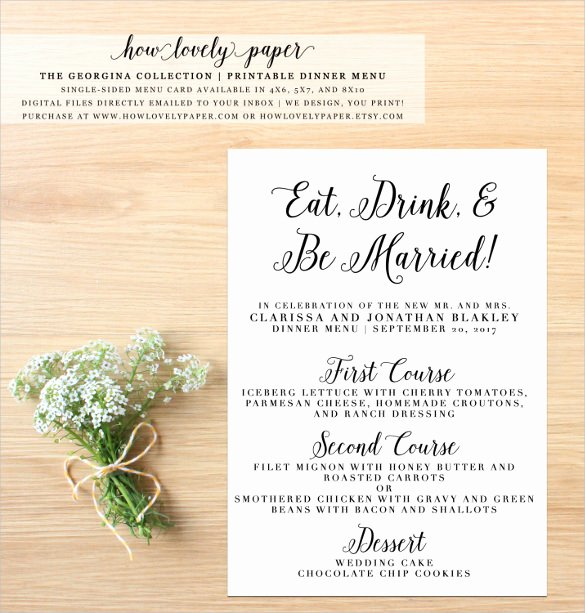 Free Printable Menu Card Template Luxury Dinner Menu Templates – 36 Free Word Pdf Psd Eps