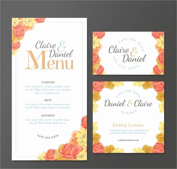 Free Printable Menu Card Template New 10 Wedding Menu Cards Psd Eps Vector