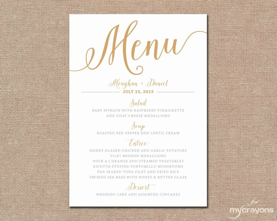 Free Printable Menu Card Template New Gold Wedding Menu Card Printable Wedding Menu Bella