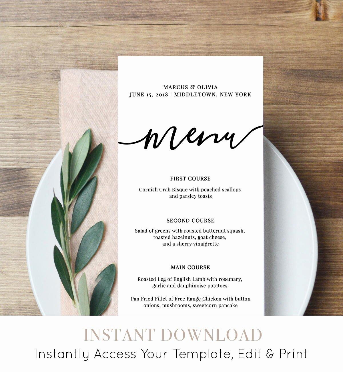 Free Printable Menu Card Template New Menu Card Template Printable Wedding Menu Modern Calligraphy