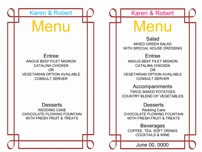 Free Printable Menu Card Template New Wedding Menu Template 5 Free Printable Menu Cards
