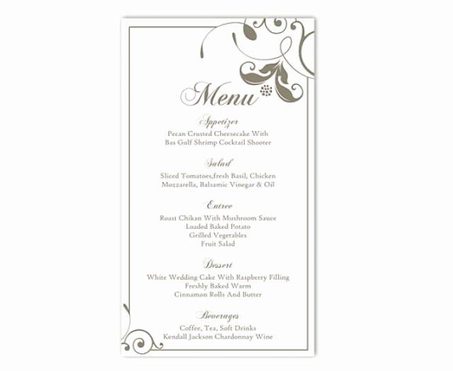 Free Printable Menu Card Template New Wedding Menu Template Diy Menu Card Template Editable Text