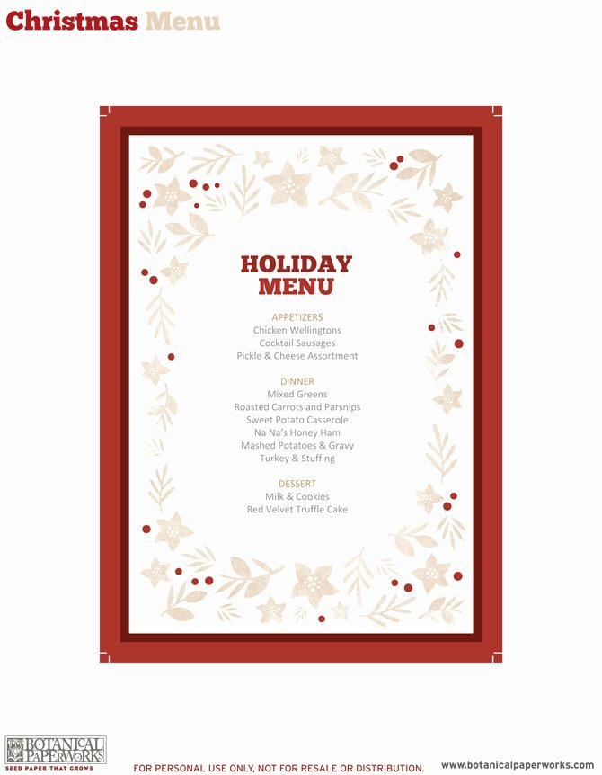 Free Printable Menu Card Template Unique Free Printable Holiday Dinner Decor Blog