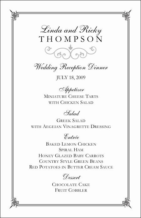 Free Printable Menu Card Template Unique Wedding Menu Templates