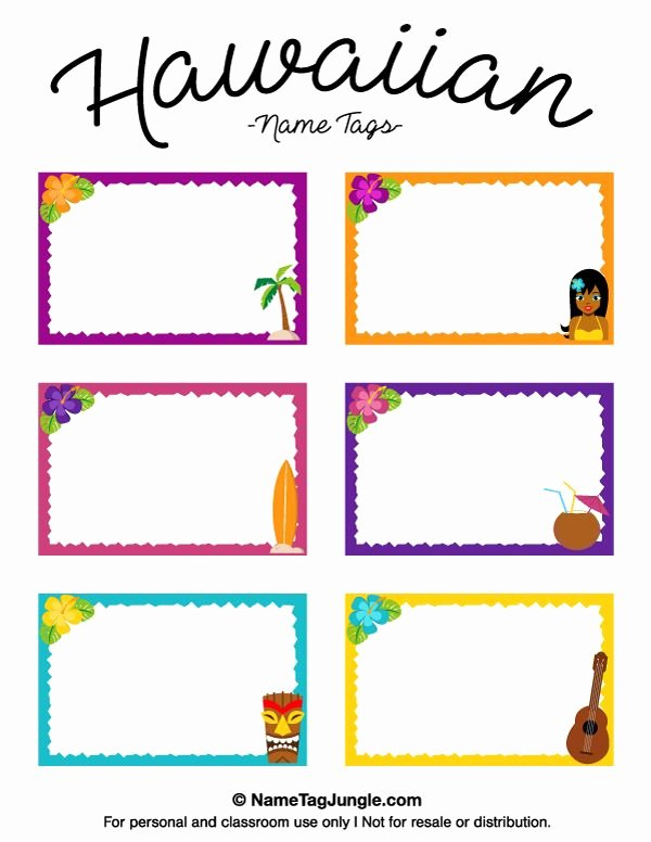 Free Printable Name Badge Template Fresh Free Printable Hawaiian Name Tags the Template Can Also