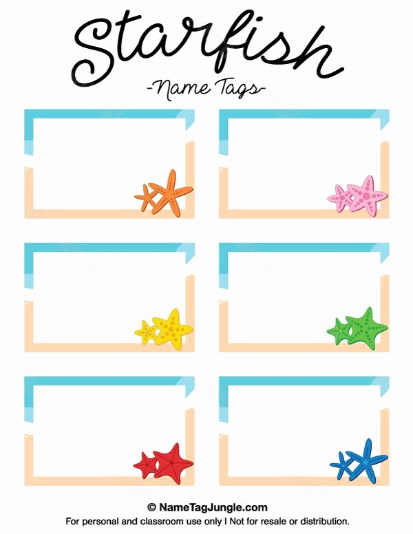 Free Printable Name Badge Template Inspirational Free Printable Starfish Name Tags the Template Can Also