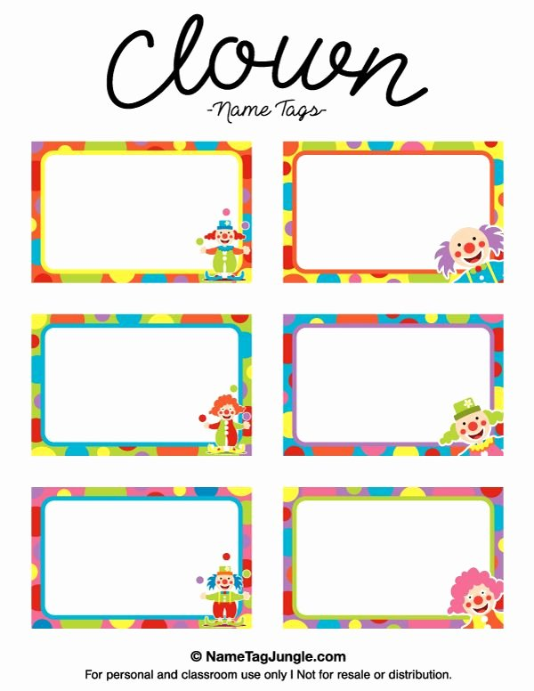 Free Printable Name Badge Template Unique Free Printable Clown Name Tags the Template Can Also Be