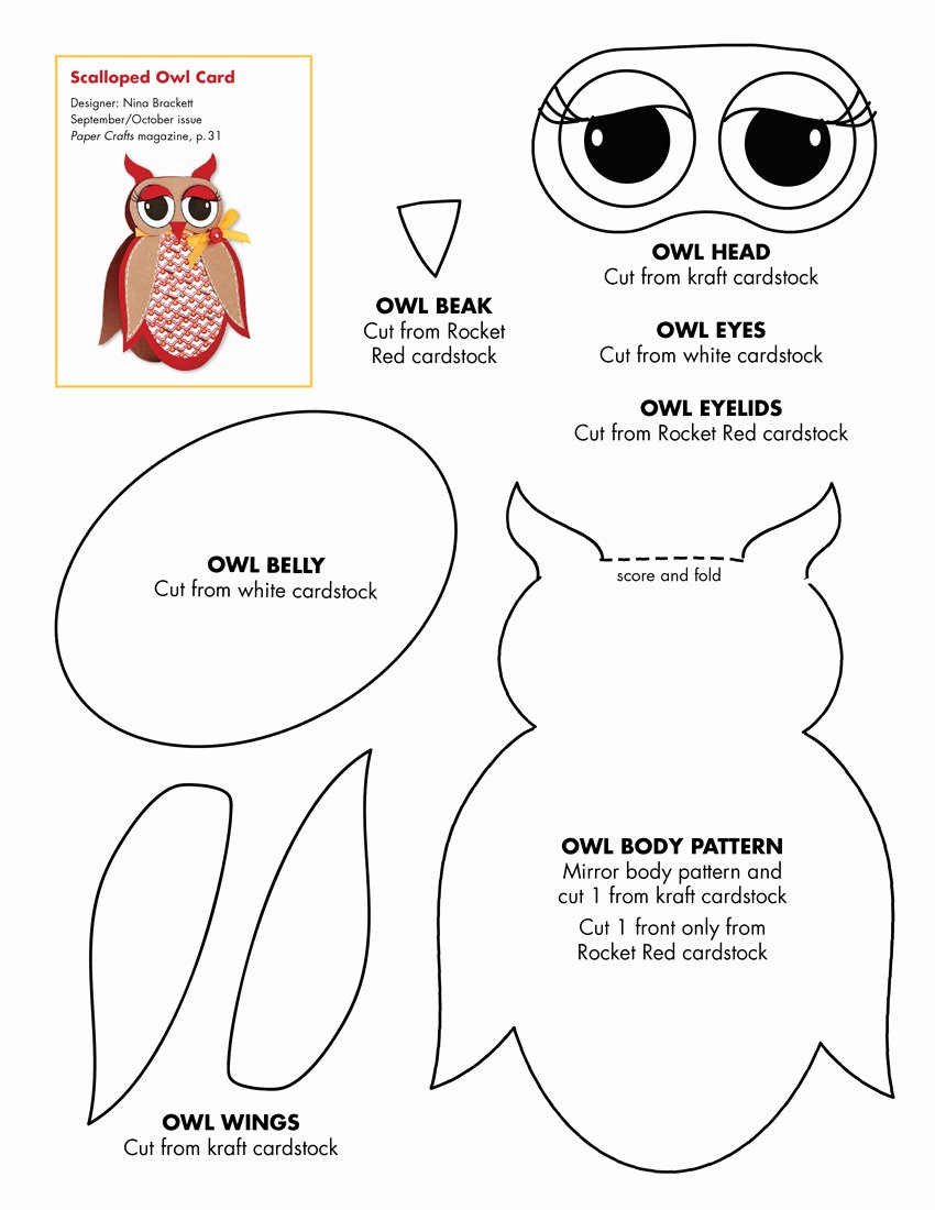 Free Printable Owl Template Unique September October 2010 Patterns