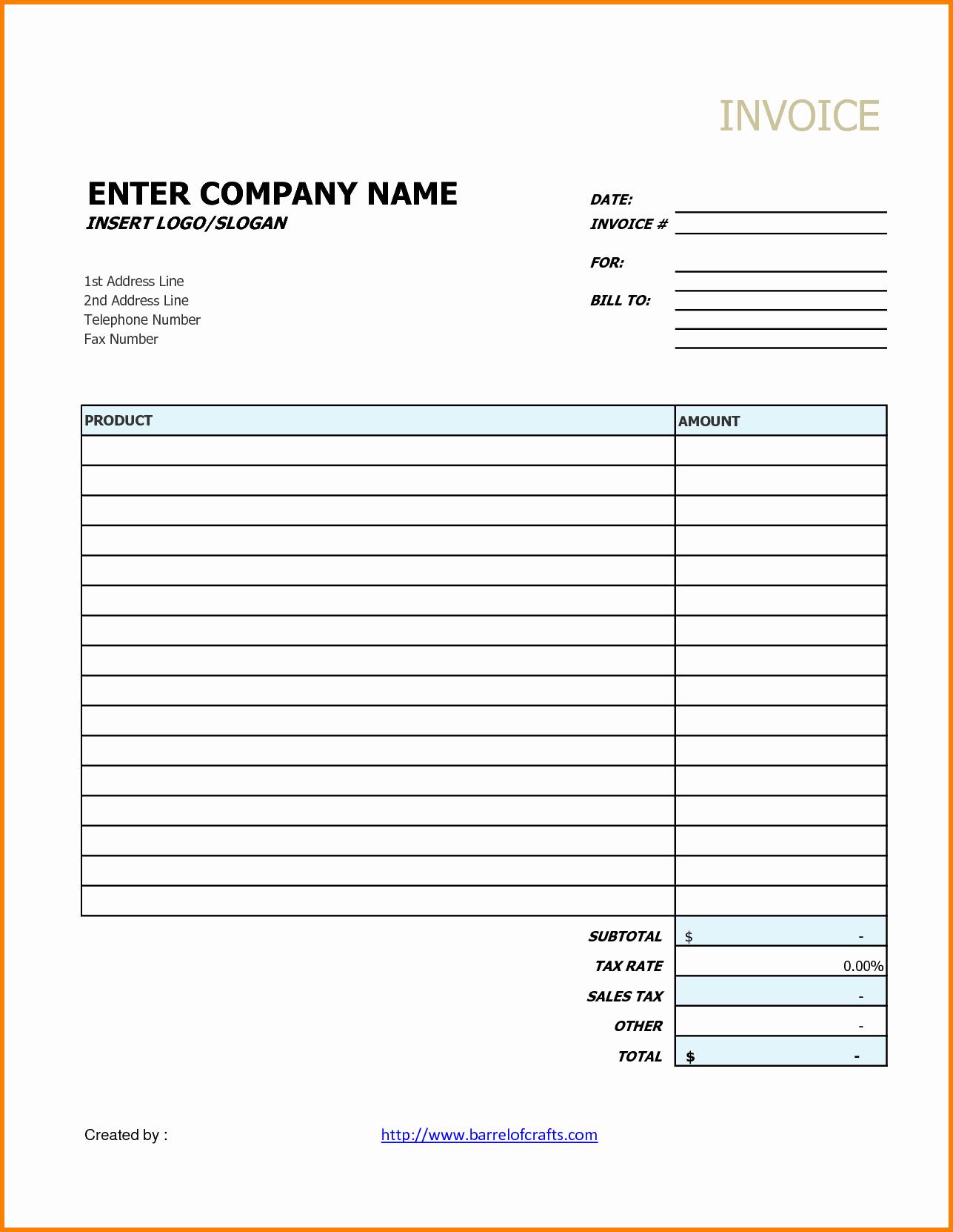 Free Printable Service Invoice Template Elegant Generic Invoice