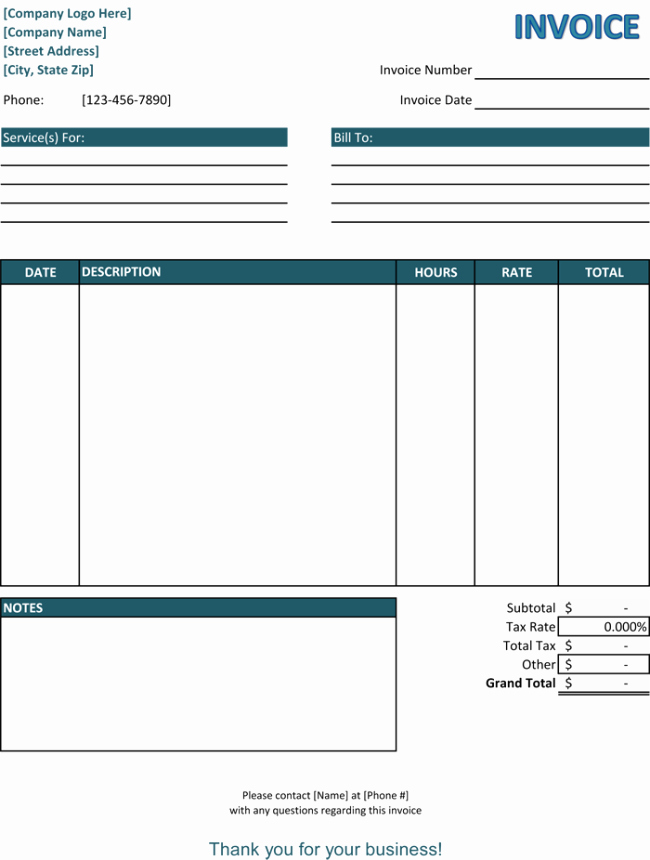 Free Printable Service Invoice Template Fresh 39 Best Templates Of Service Billing Invoice Examples