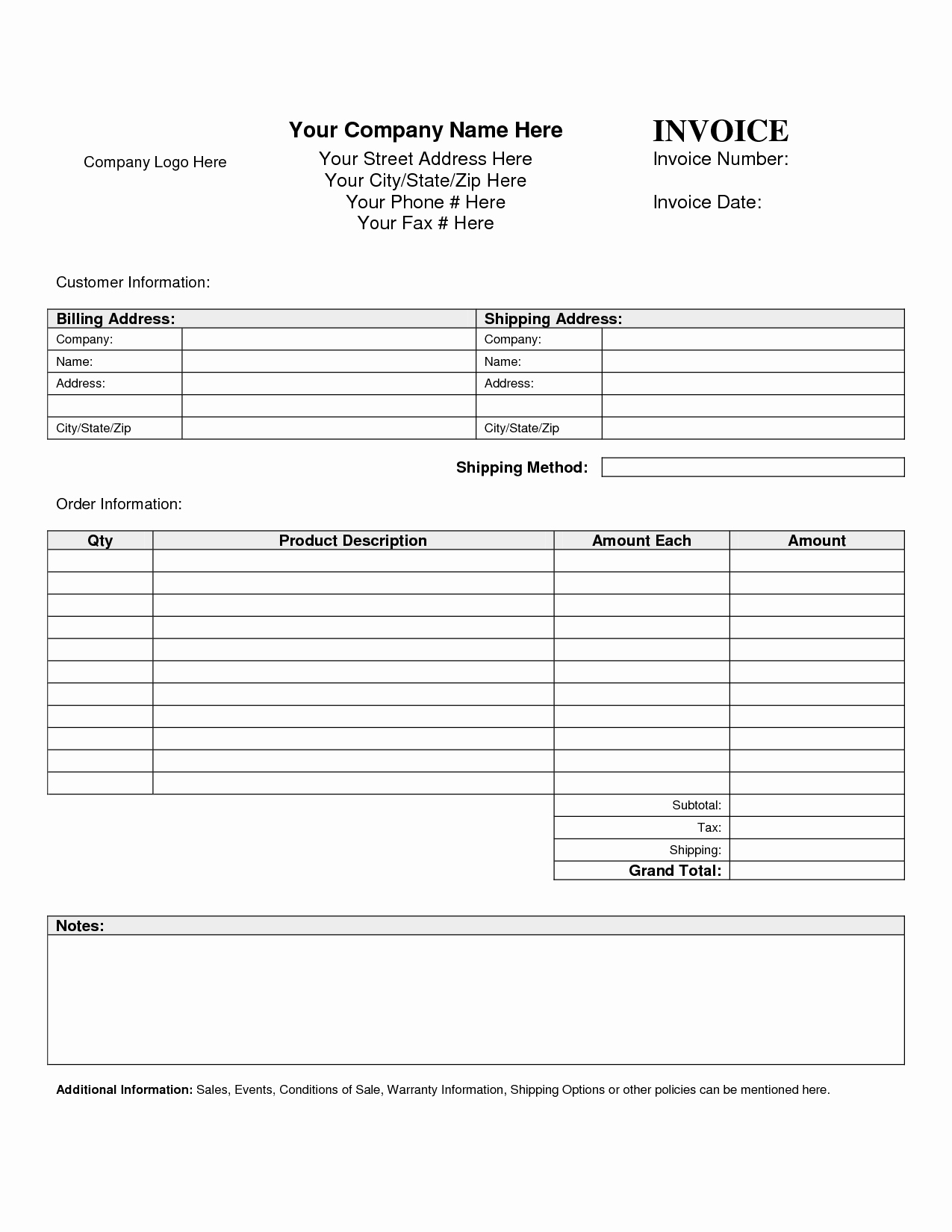 Free Printable Service Invoice Template Fresh Billing Invoice Template Free