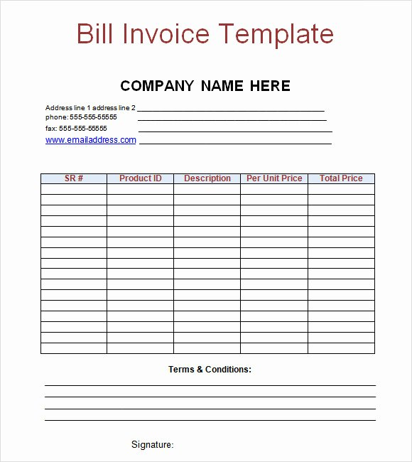 Free Printable Service Invoice Template Inspirational Free Printable Bill Invoice Template Example with Pany