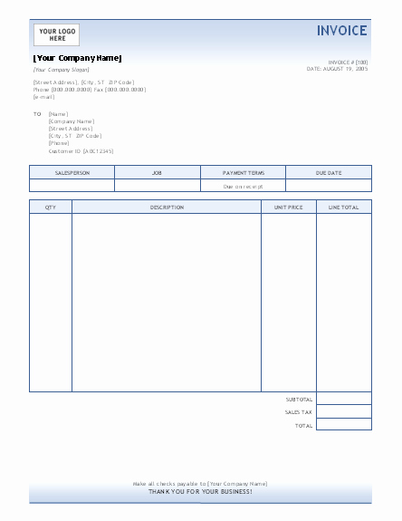 Free Printable Service Invoice Template New Invoice Template Invoices