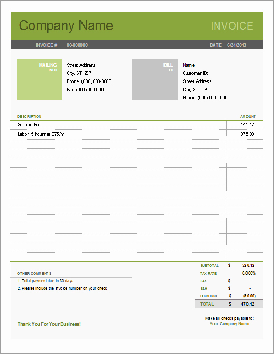 Free Printable Service Invoice Template Unique Printable Free Invoice Templates the Grid System