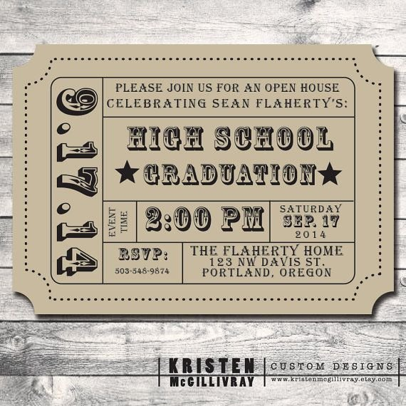 Free Printable Ticket Stub Template New Graduation Party Party Invitation Diy Digital File