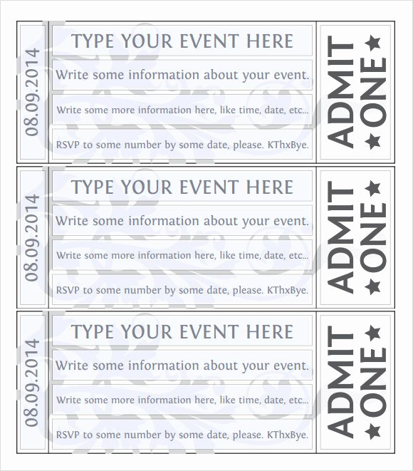 Free Printable Tickets Template Awesome 22 Sample Amazing event Ticket Templates to Download