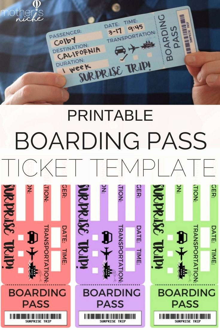 Free Printable Tickets Template Luxury Printable Tickets Template Boarding Passes for Surprise