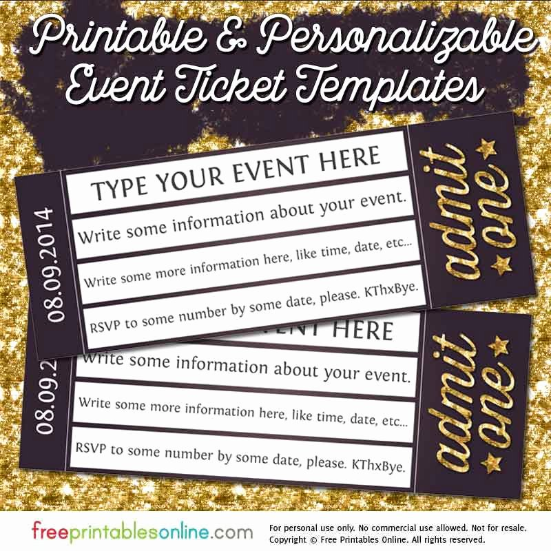 Free Printable Tickets Template New Admit E Gold event Ticket Template Free Printables Line