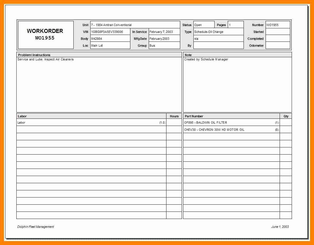 Free Printable Work order Template Elegant 8 Free Printable Maintenance Work order forms