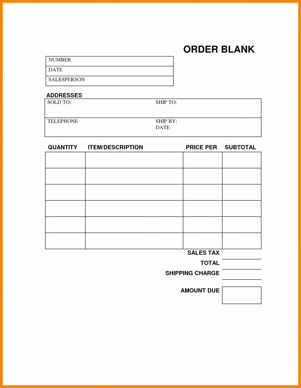 Free Printable Work order Template Inspirational order Sheet Template