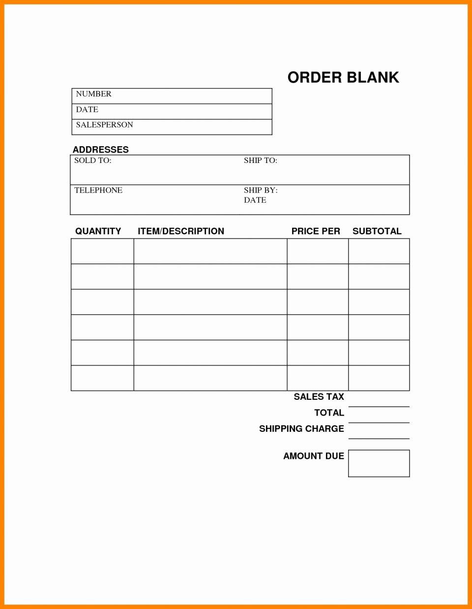 Free Printable Work order Template Inspirational order Sheet Template