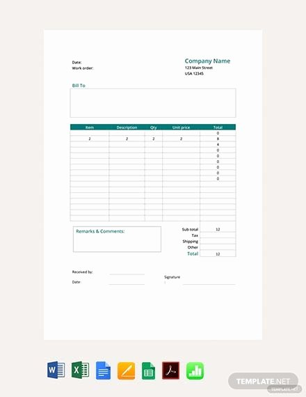 Free Printable Work order Template Lovely Free Maintenance Work order Template Download 75 order