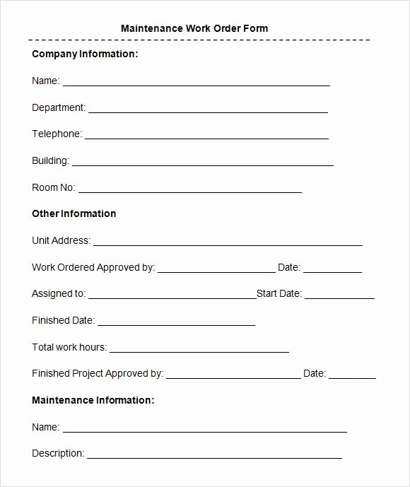 Free Printable Work order Template Unique 8 Sample Maintenance Work order forms