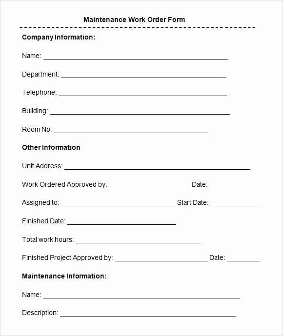 Free Printable Work order Template Unique 8 Sample Maintenance Work order forms