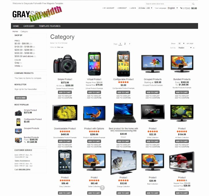 Free Product Catalog Template Elegant Grayscale Full Width Responsive Magento Extension by