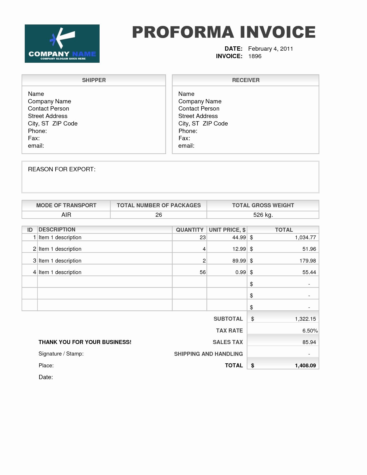 Free Proforma Invoice Template Beautiful Proforma Invoice Template Download Free Invoice Template