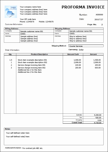 Free Proforma Invoice Template Fresh Proforma Invoice Quickbooks