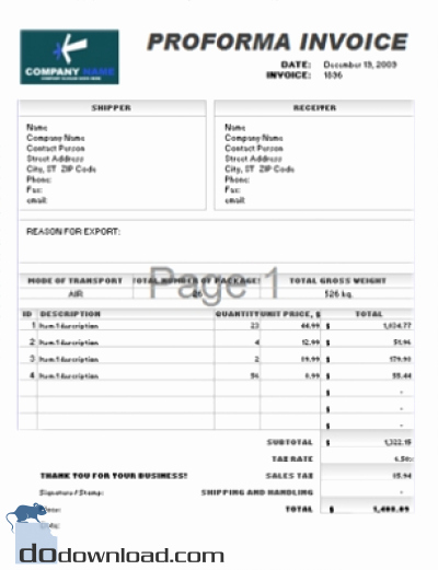 Free Proforma Invoice Template Lovely Proforma Invoice Template Pdf