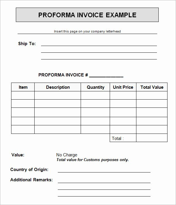 Free Proforma Invoice Template New 15 Sample Proforma Invoice Template for Download