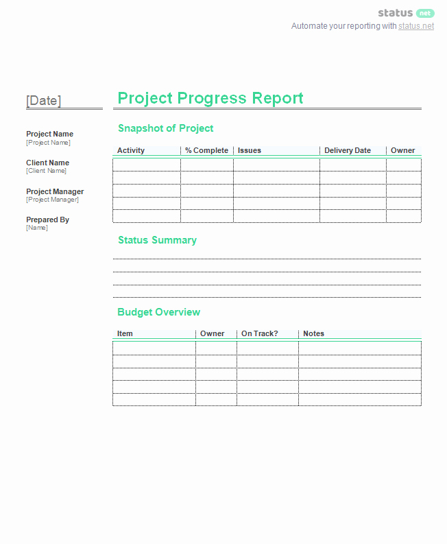 Free Project Status Report Template Beautiful 2 Incredible Project Progress Report Templates