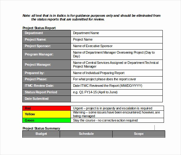 Free Project Status Report Template Best Of 19 Monthly Report Template Free Sample Example format